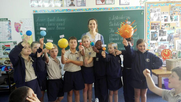 Grade 3 went to space with teacher Chane De Jager. Photograph: Annelita Carpenter