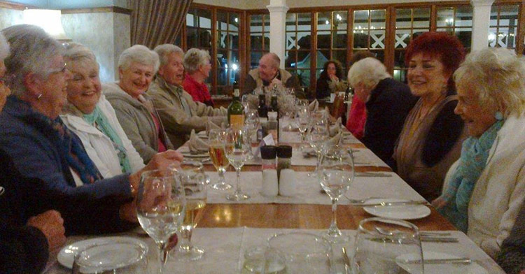 Prime Timers enjoying dinner pn Tsitsikamma excursion
